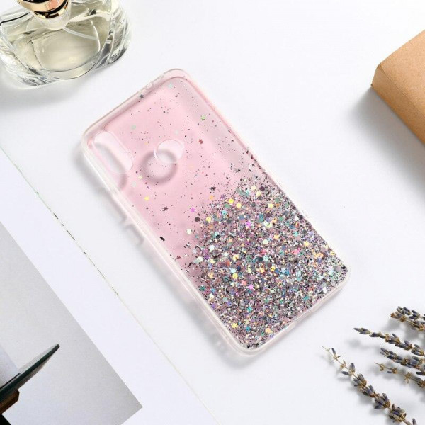 Силиконовый чехол с блестками для Samsung A10s Розовый