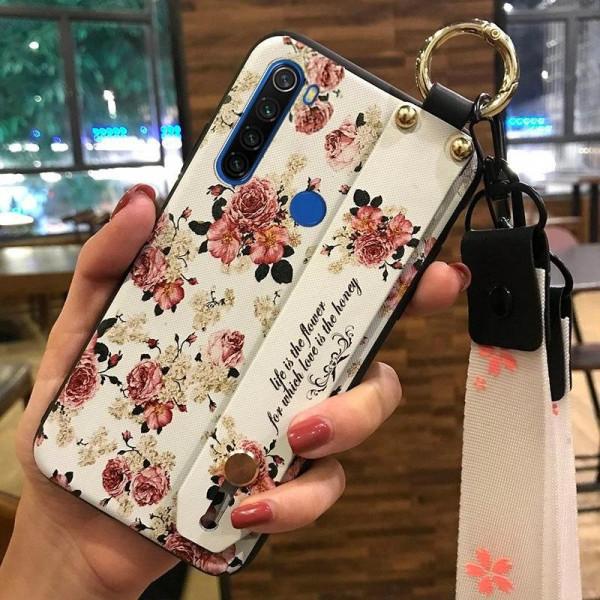 Силиконовый чехол для Xiaomi Redmi Note 8T с ремешком-подставкой Розочки
