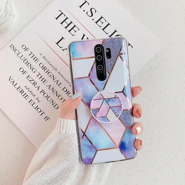 Силиконовый чехол с принтом и попсокетом для Xiaomi Redmi Note 8 Pro Синий