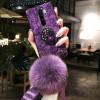 Силиконовый чехол с попсокетом и меховым помпоном для Xiaomi Redmi Note 8 Pro Фиолетовый
