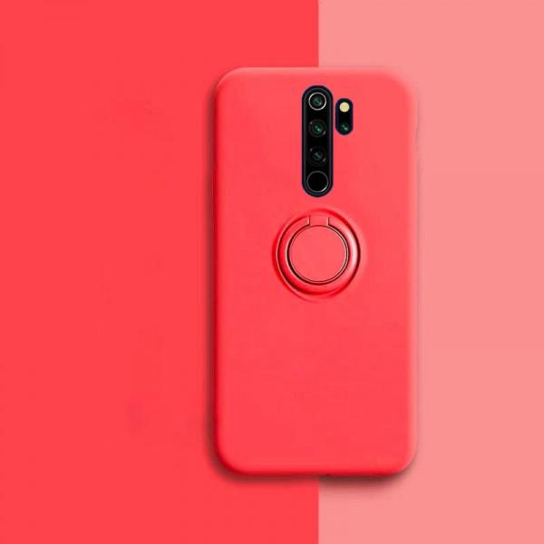 Силиконовый чехол Soft Touch с кольцом-держателем для Xiaomi Redmi Note 8 Pro Красный