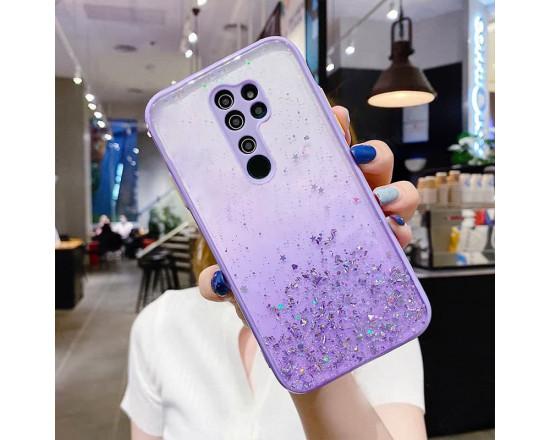Чехол Stardust с цветными бортиками для Xiaomi Redmi Note 8 Pro Фиолетовый