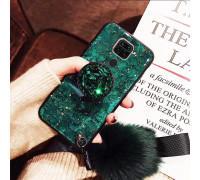 Силиконовый чехол с попсокетом и меховым помпоном для Xiaomi Redmi Note 9 Зеленый