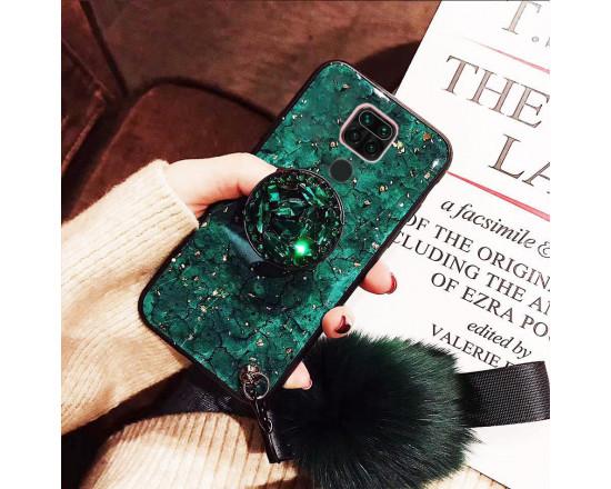 Cиликоновый чехол с попсокетом и меховым помпоном для Xiaomi Redmi Note 9 Зеленый