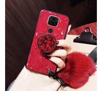 Силиконовый чехол с попсокетом и меховым помпоном для Xiaomi Redmi Note 9 Красный