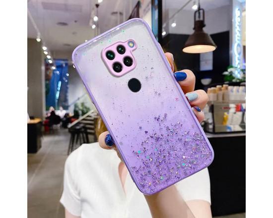 Чехол Stardust с цветными бортиками для Xiaomi Redmi Note 9 Фиолетовый