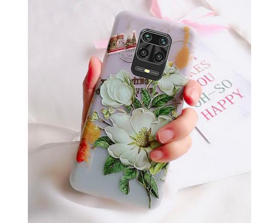 Рельефный силиконовый чехол для Xiaomi Redmi Note 9s/Pro с картинкой Белые цветы