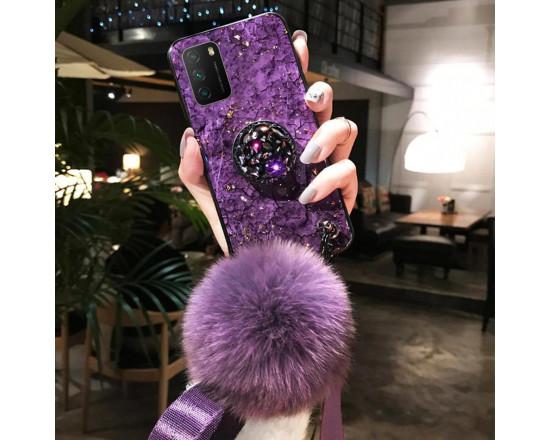 Силиконовый чехол с попсокетом и меховым помпоном для Xiaomi Poco M3 Фиолетовый