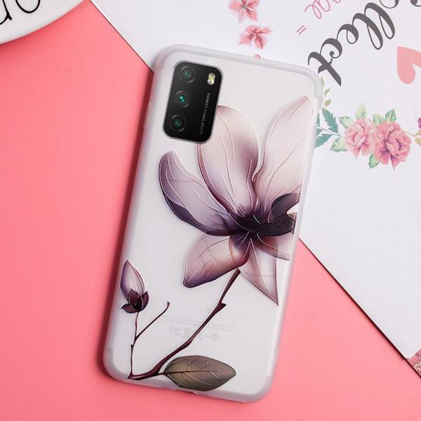 Рельефный силиконовый чехол для Xiaomi Poco M3 с картинкой Магнолия