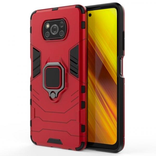 Защитный бампер IronMan для Xiaomi Poco X3 NFC/Pro с кольцом-держателем Красный