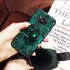 Силиконовый чехол с попсокетом и меховым помпоном для Xiaomi Poco X3 NFC Зеленый
