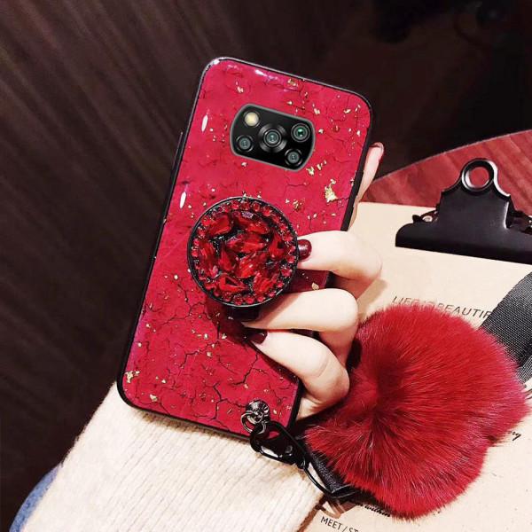 Силиконовый чехол с попсокетом и меховым помпоном для Xiaomi Poco X3 NFC Красный