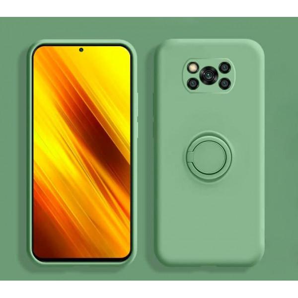 Силиконовый чехол Soft Touch с кольцом-держателем для Xiaomi Poco X3 NFC/Pro Зеленый