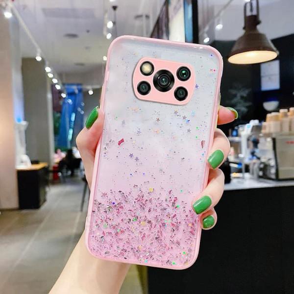 Чехол Stardust с цветными бортиками для Xiaomi Poco X3 NFC/Pro Розовый
