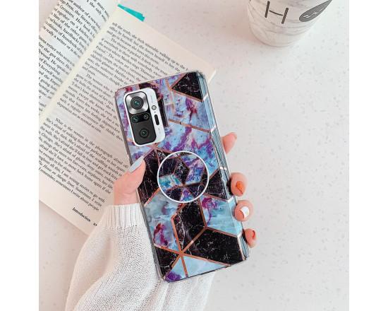 Силиконовый чехол с принтом и попсокетом для Xiaomi Redmi Note 10 Pro Чёрный