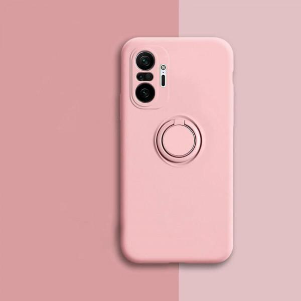 Силиконовый чехол Soft Touch с кольцом-держателем для Xiaomi Redmi Note 10 Pro Розовый