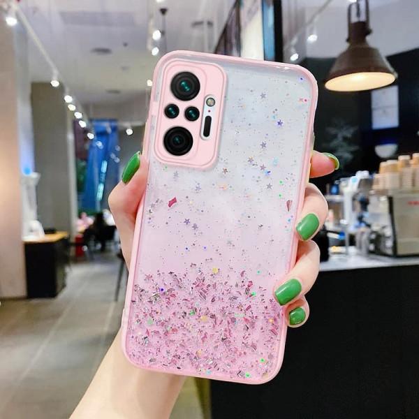 Чехол Stardust с цветными бортиками для Xiaomi Redmi Note 10 Pro Розовый