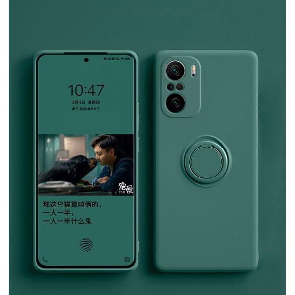 Силиконовый чехол Soft Touch с кольцом-держателем для Xiaomi Redmi Note 10/10s Тёмно-зеленый