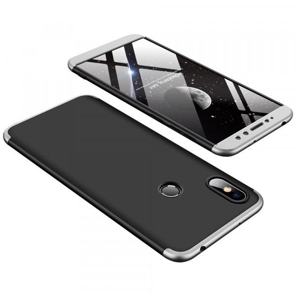 Матовый защитный чехол GKK 360° для Xiaomi Redmi S2 Черно-серебристый