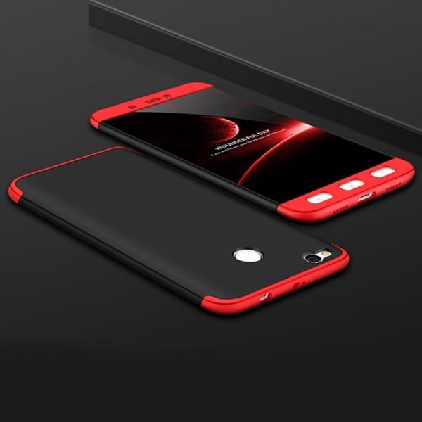 Матовый защитный чехол GKK 360° для Xiaomi Redmi 4x Черно-красный