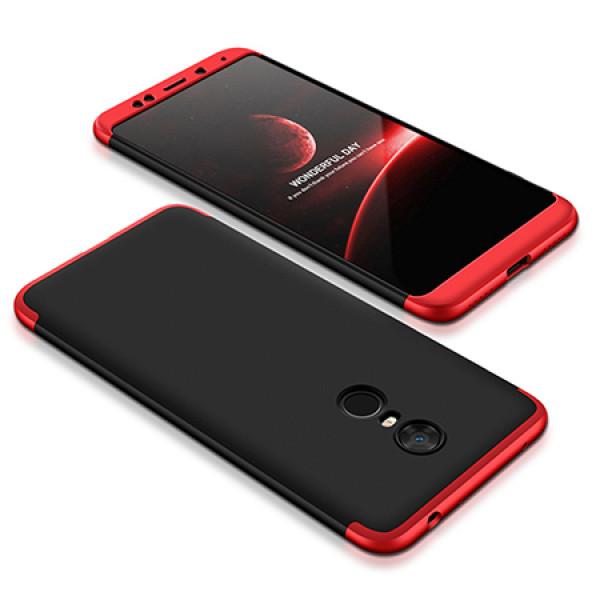 Матовый защитный чехол GKK 360° для Xiaomi Redmi 5 Чёрно-красный