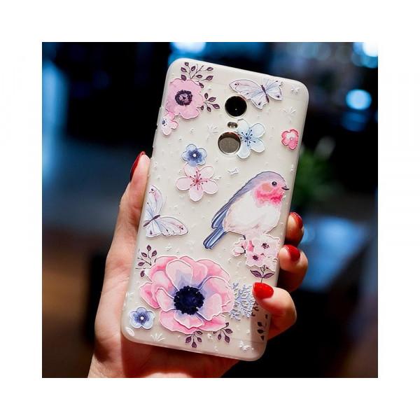 Рельефный силиконовый чехол для Xiaomi Redmi 5 с картинкой Цветы и птица