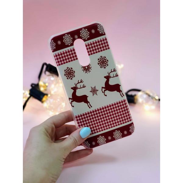 Пластиковый бампер с новогодним рисунком для Xiaomi Redmi 5 Plus Олени