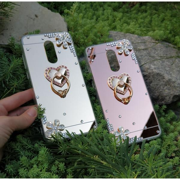 Зеркальный силиконовый чехол со стразами для Xiaomi Redmi 5 Plus