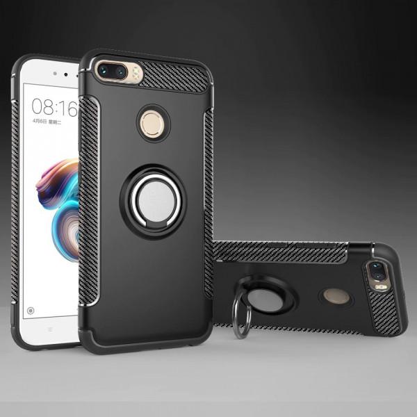 Противоударный бампер для Xiaomi Redmi 6 с кольцом-держателем Черный