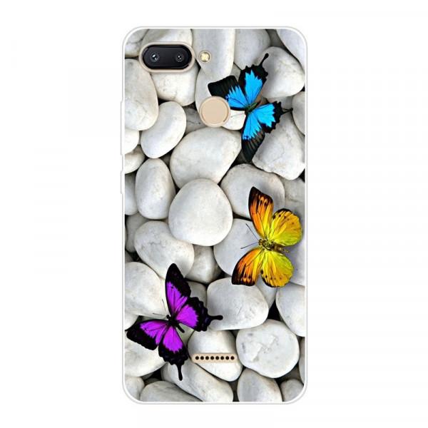 Силиконовый чехол для Xiaomi Redmi 6 с картинкой Бабочки на камнях