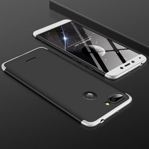 Матовый защитный чехол GKK 360° для Xiaomi Redmi 6 Черно-серебристый