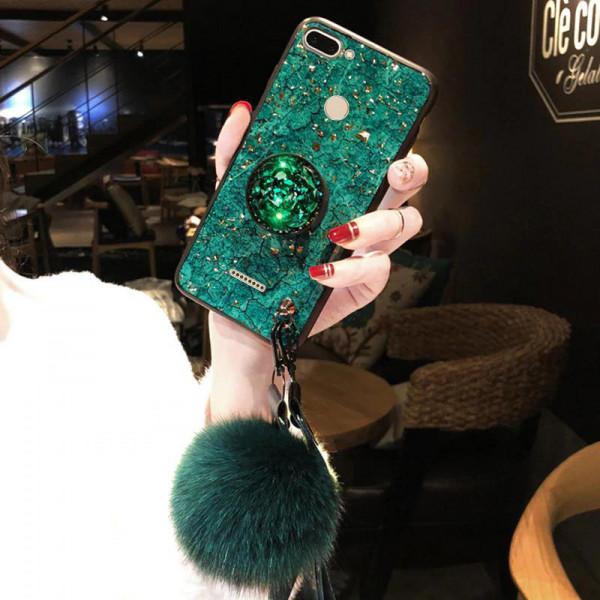 Силиконовый чехол с попсокетом и меховым помпоном для Xiaomi Redmi 6 Зеленый