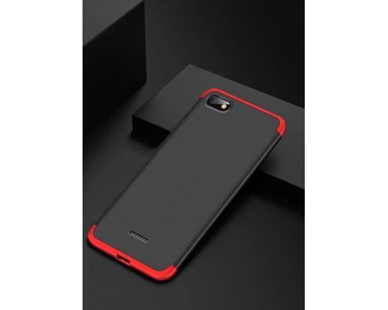 Матовый защитный чехол GKK 360° для Xiaomi Redmi 6a Чёрно-красный