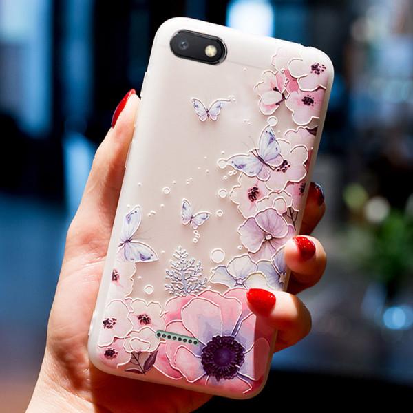 Рельефный силиконовый чехол для Xiaomi Redmi 6a с картинкой Цветы и бабочки