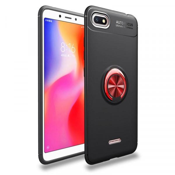 Силиконовый бампер для Xiaomi Redmi 6a с кольцом-держателем Красный