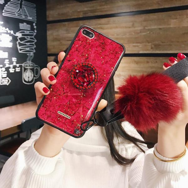 Силиконовый чехол с попсокетом и меховым помпоном для Xiaomi Redmi 6a Красный