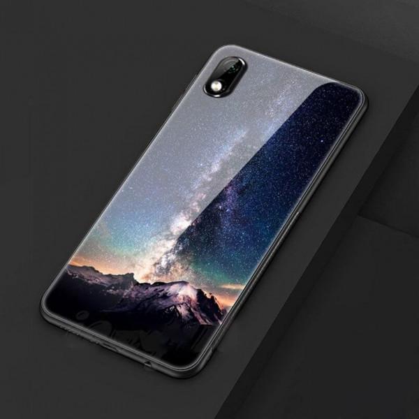 Глянцевый силиконовый бампер для Xiaomi Redmi 7a с картинкой Ночь над горами