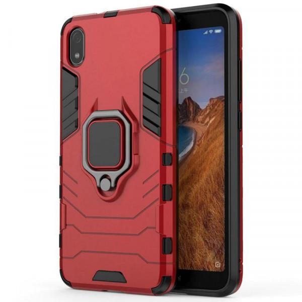 Защитный бампер IronMan для Xiaomi Redmi 7a с кольцом-держателем Красный