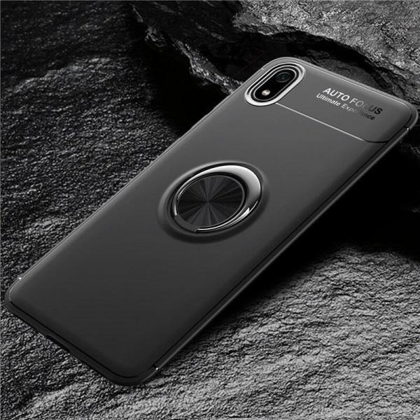 Силиконовый бампер для Xiaomi Redmi 7a с кольцом-держателем Черный