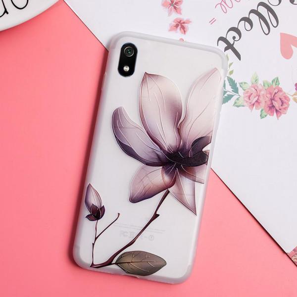 Рельефный силиконовый чехол для Xiaomi Redmi 7a с картинкой Магнолия