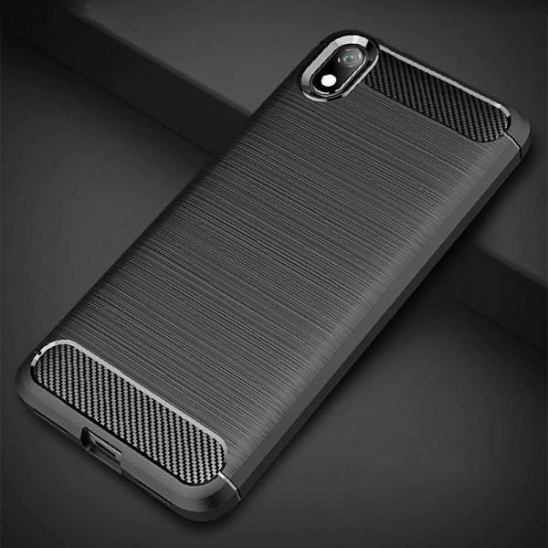 Силиконовый бампер Ipaky с карбоновыми вставками для Xiaomi Redmi 7a (чёрный)