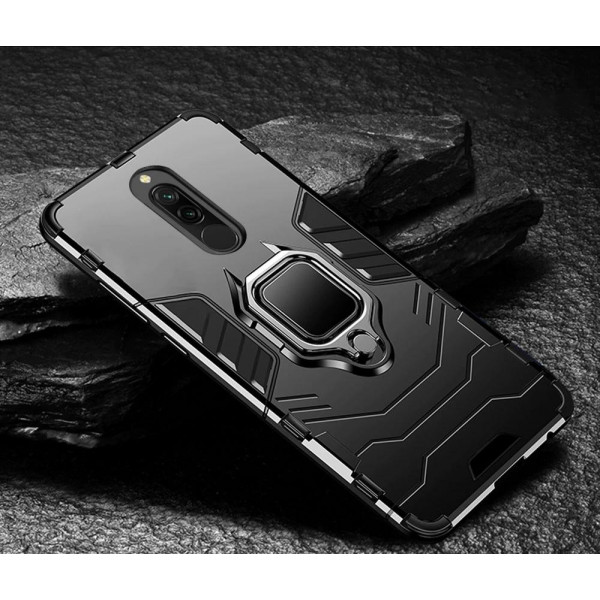 Защитный бампер IronMan для Xiaomi Redmi 8/8a с кольцом-держателем - Черный