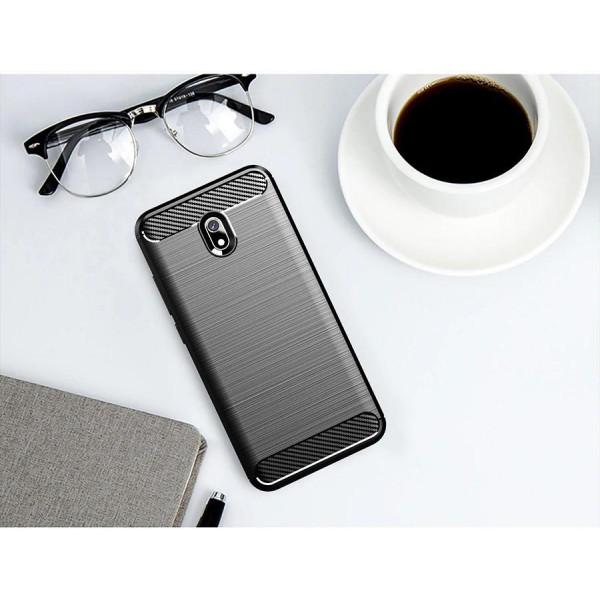 Силиконовый бампер Ipaky с карбоновыми вставками для Xiaomi Redmi 8a (чёрный)