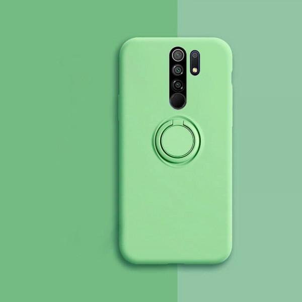 Силиконовый чехол Soft Touch с кольцом-держателем для Xiaomi Redmi 9 Зеленый