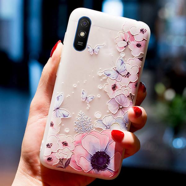 Рельефный силиконовый чехол для Xiaomi Redmi 9a с картинкой - Цветы и бабочки