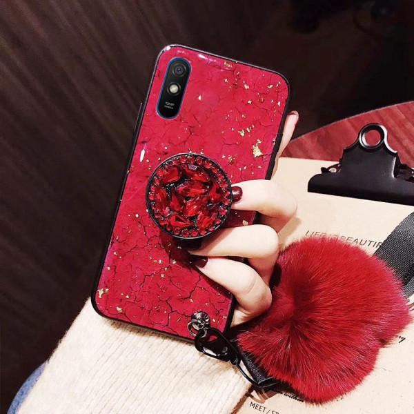 Силиконовый чехол с попсокетом и меховым помпоном для Xiaomi Redmi 9a - Красный