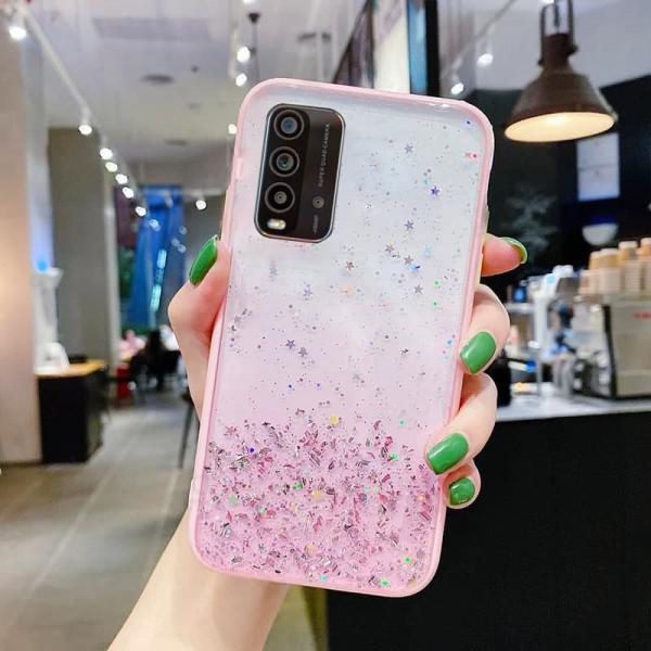 Чехол Stardust с цветными бортиками для Xiaomi Redmi 9T Розовый