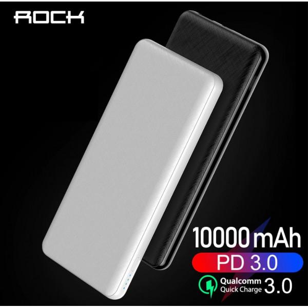 Внешний аккумулятор Rock P45 P100C 10000 mAh Black/White (P45 P100C)