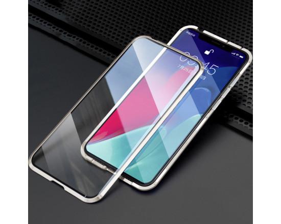 Двухсторонний магнитный чехол для Xiaomi Poco M3 Серебристый