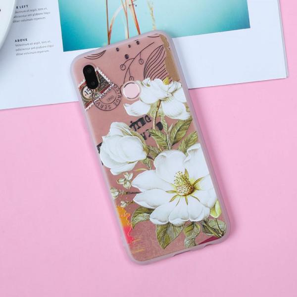 Рельефный силиконовый чехол для Samsung A10s с картинкой Белые цветы